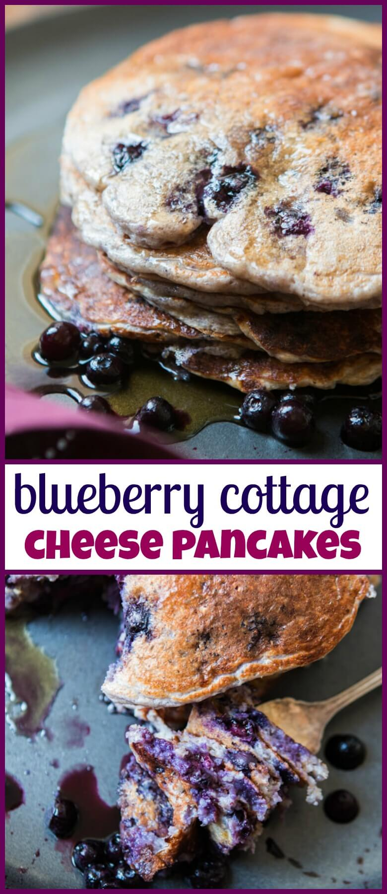 Sometimes you just need a big pile of pancakes and these healthy wild blueberry cottage cheese pancakes will fill your belly but not your waistline. gluten-free