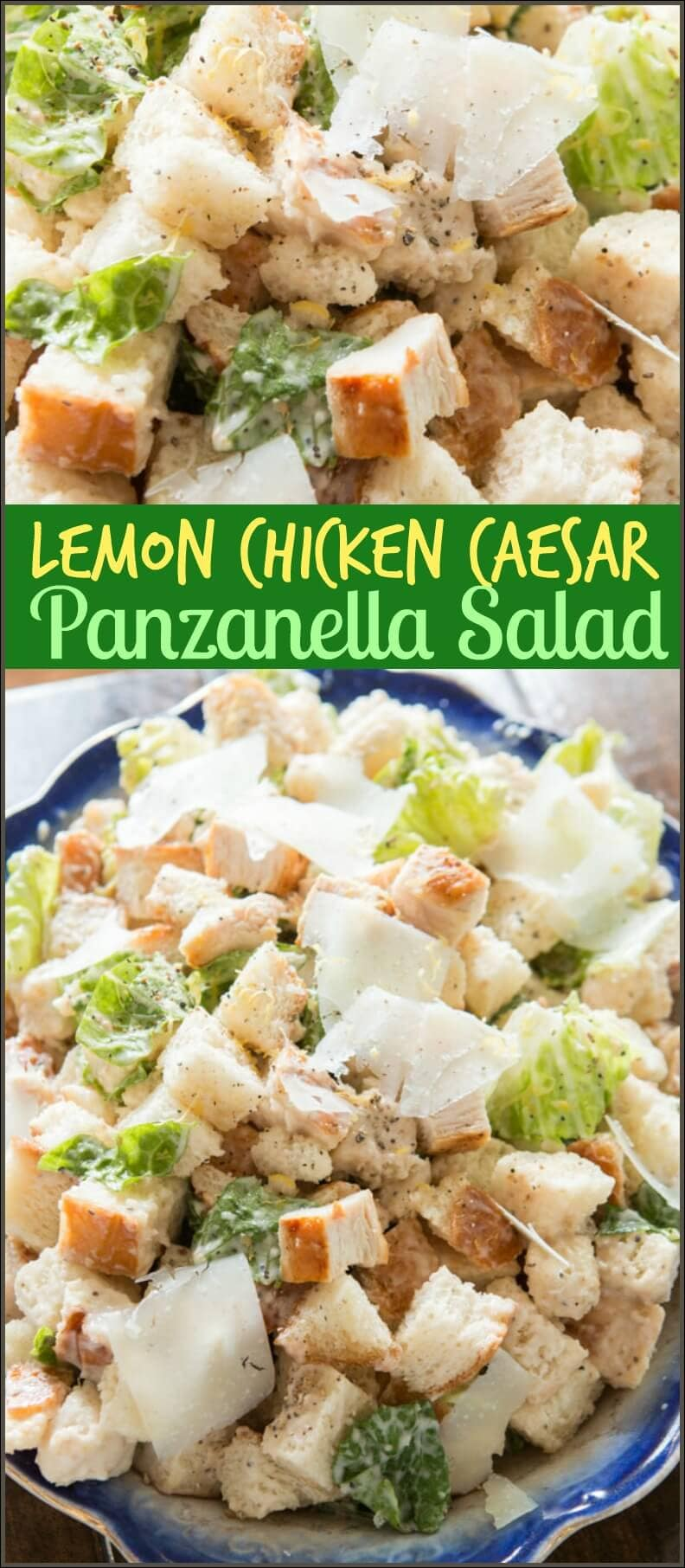 There's nothing better than carbs and this lemon chicken caesar panzanella salad is the best salad I've had all summer. Plus there's a hint of lemon!