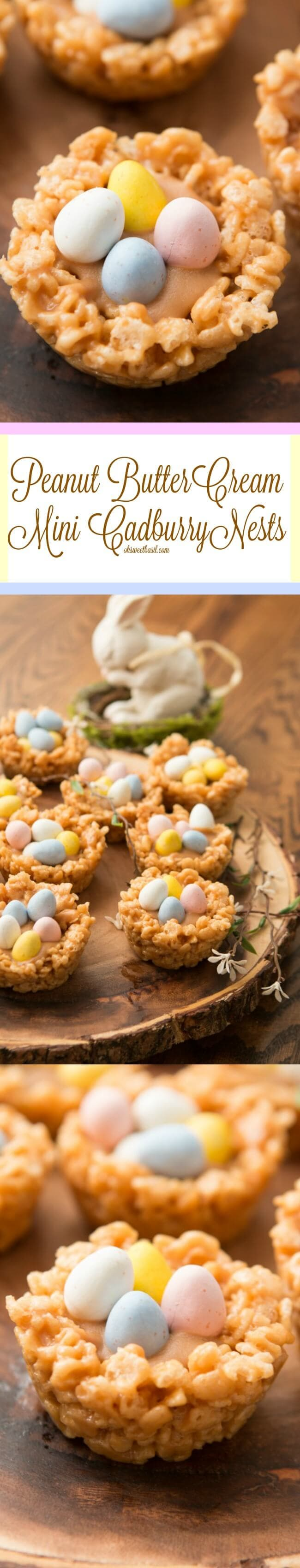 These are so much better than the Chinese noodle nests! Peanut butter rice krispies filled with peanut butter cream! ohsweetbasil.com