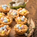 Peanut Butter Cream Filled Mini Cadbury Egg Rice Krispy Nests