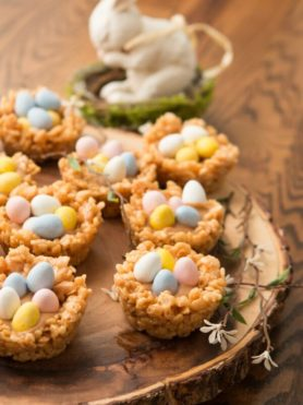 Peanut Butter Cream Filled Rice Krispy Nests with mini Cadbury Eggs ohsweetbasil.com