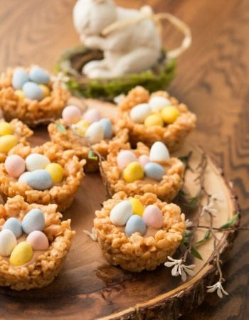 Peanut Butter Cream Filled Rice Krispy Nests with mini Cadbury Eggs ohsweetbasil.com