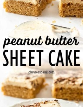 peanut butter sheet cake with fluffy frosting