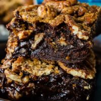 two pecan pie brownies stacked together