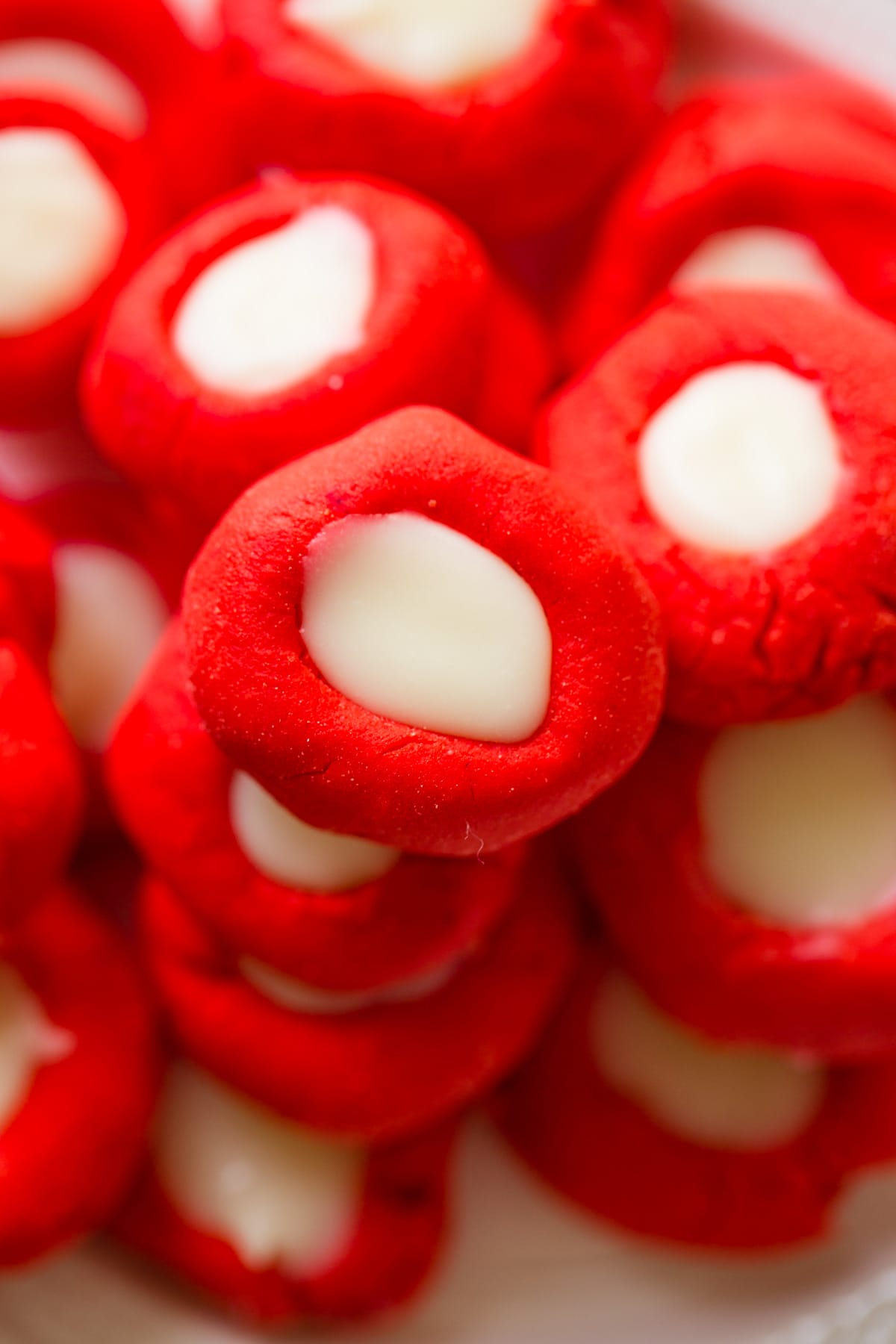 red and white cream cheese mints