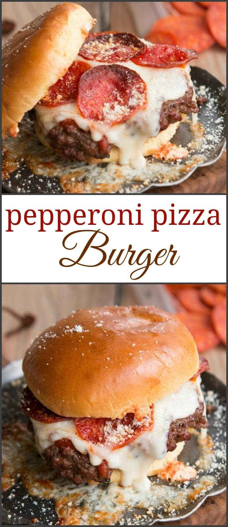 So you think a juicy burger sounds good? Try this pepperoni pizza burger instead and let your taste buds go crazy! So delicious! ohsweetbasil.com