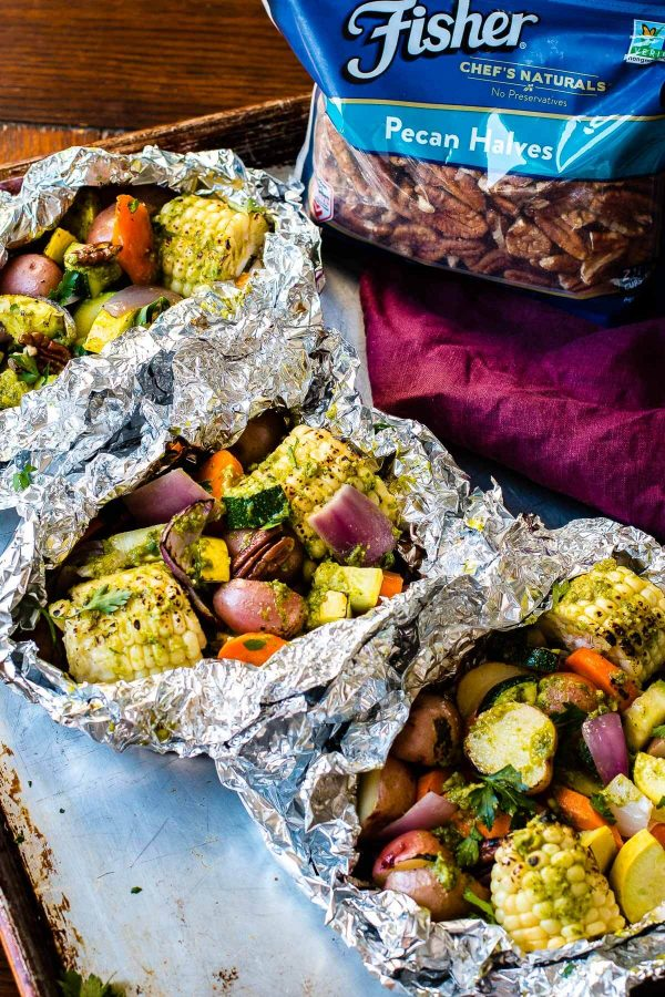 Pesto Butter Veggie Foil Packets For The Grill Oh Sweet