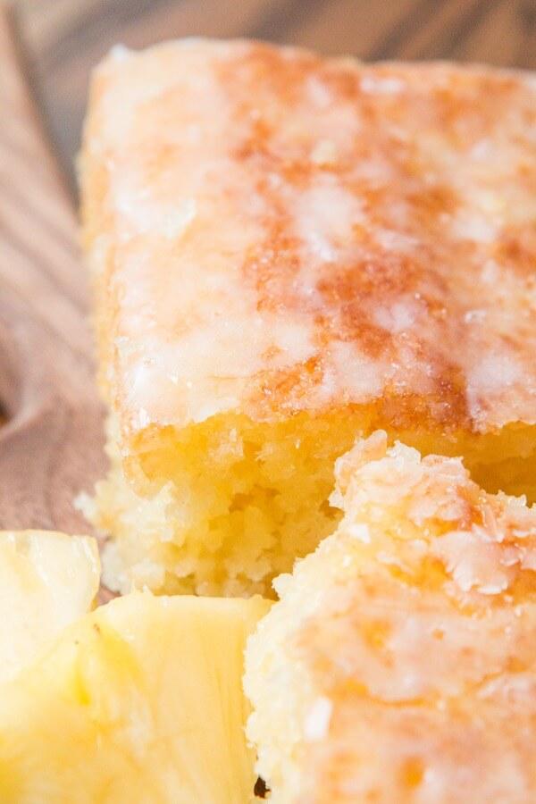 Pineapple crush jello cake, the most moist and wonderful 30 minute dessert! ohsweetbasil.com