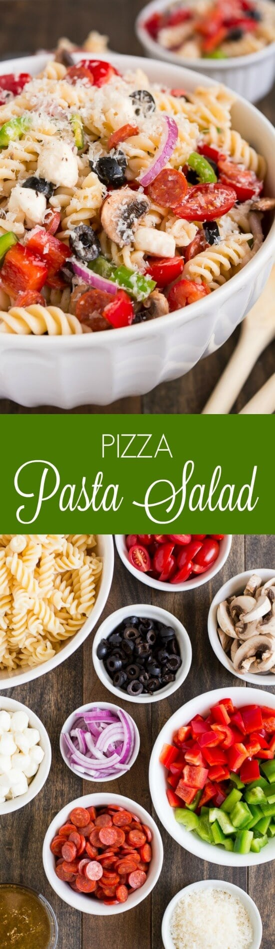 Serve Pizza Pasta Salad at your next barbecue and enjoy the delicious flavors of an Everything Pizza in this veggie, pepperoni, and cheese filled side dish.