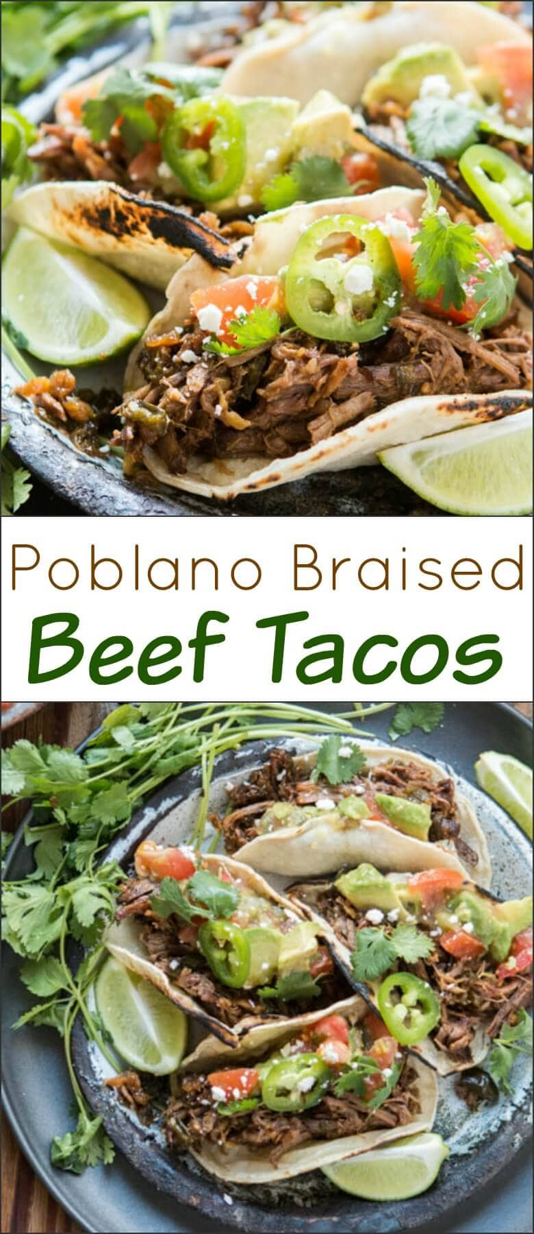 Taco Tuesday is all the rage these days, but you've never had tacos quite like these poblano braised beef tacos. Best meat ever! ohsweetbasil.com