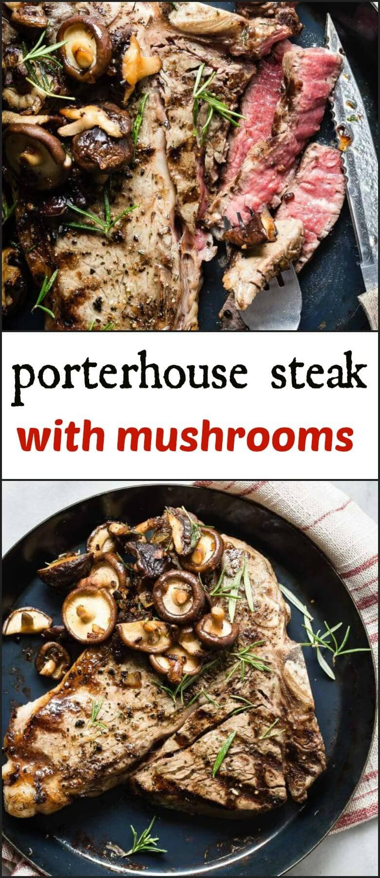 If you're grilling steak this summer, don't goof around. Grill a giant juicy Porterhouse Steak with mushrooms and claim that grill as your throne. ohsweetbasil.com