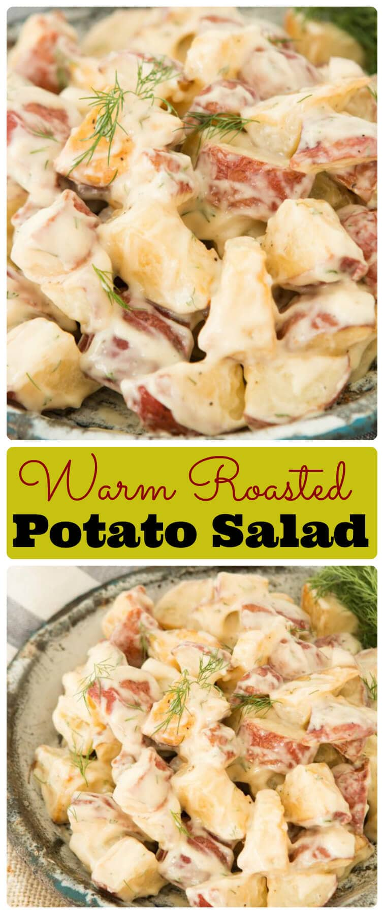 This potato salad was going to be a classic but then we roasted the potatoes and it took things to a whole new lever! We love warm roasted potato salad! ohsweetbasil.com