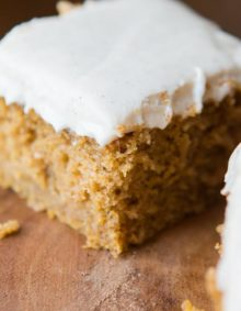 Pumpkin Cake with Cinnamon White Chocolate Cream Cheese Frosting. Did you get all of that? Fall needs pumpkin cake and I've got our family favorite recipe. ohsweetbasil.com