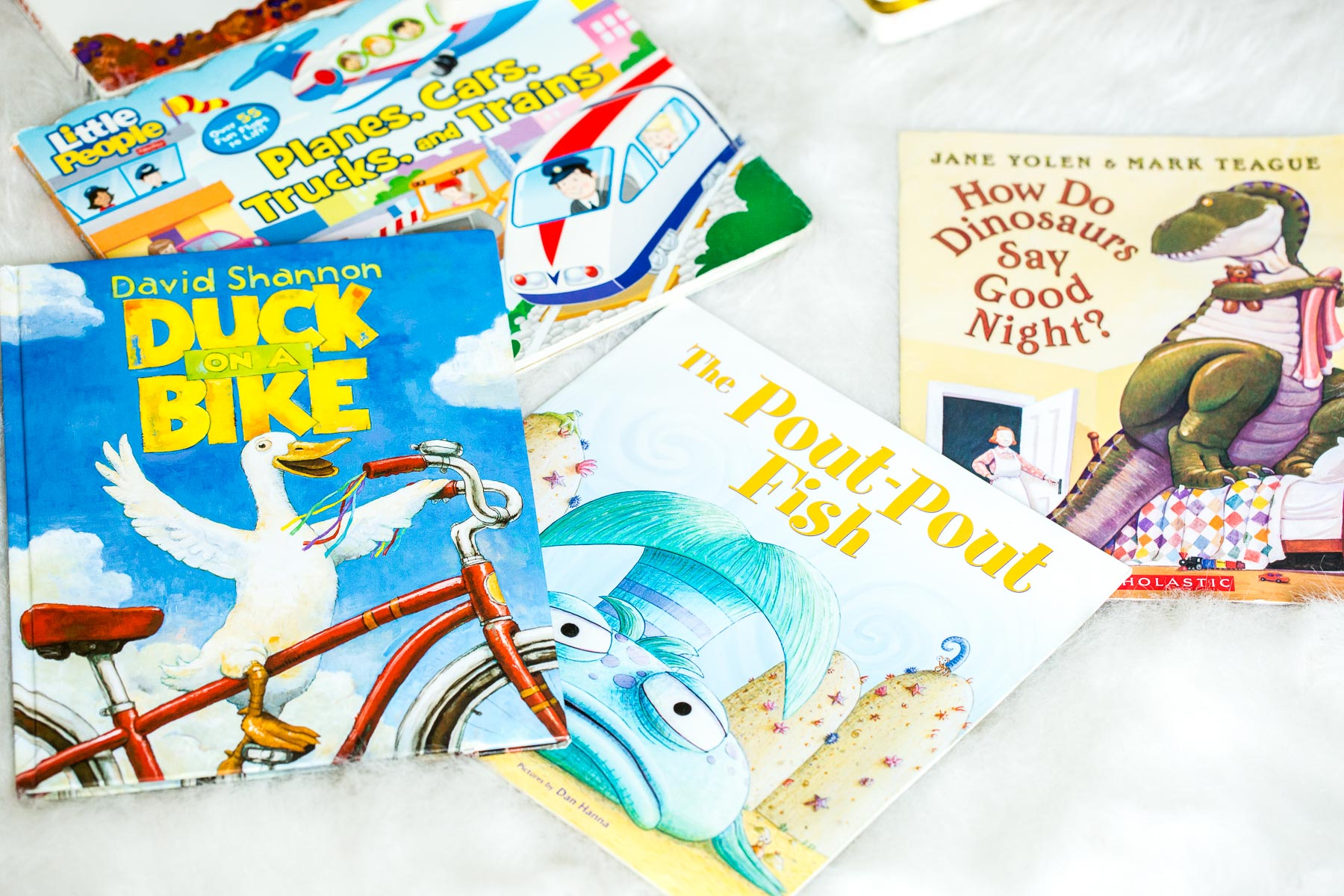 How do Dinosaurs say goodnight, the pout pout fish, duck on a bike and so many more of the best books for toddler boys ohsweetbasil.com