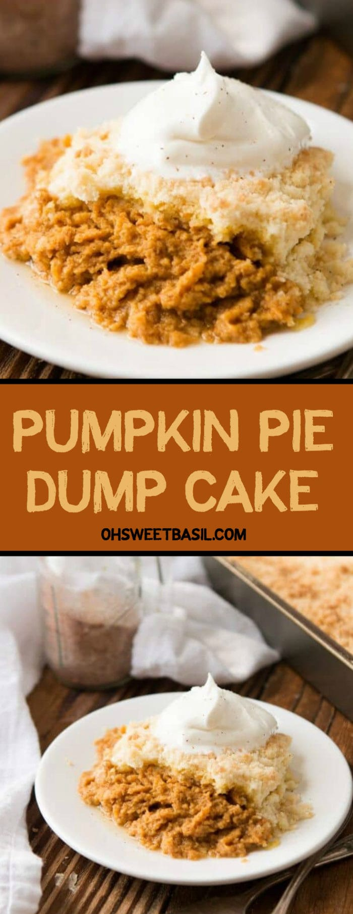 Mom's Pumpkin Pie Dump Cake with fresh whip cream on top