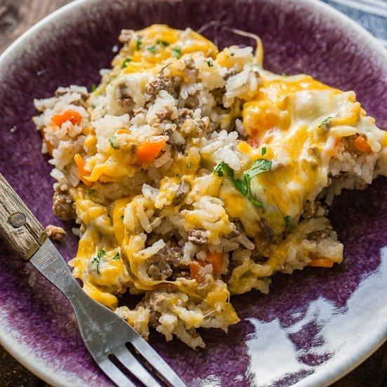 quick and easy cheesy ground beef and rice casserole