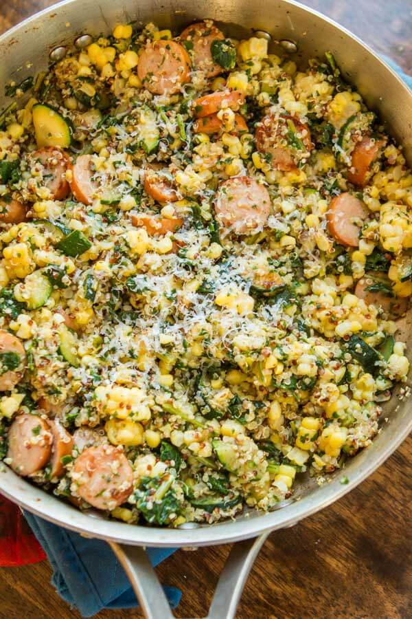 Looking for healthy dinner ideas that are quick and easy and actually taste good? We are loving this healthy sausage kale quinoa skillet lately. ohsweetbasil.com