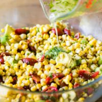 Grilled Corn Avocado Tomato Salad