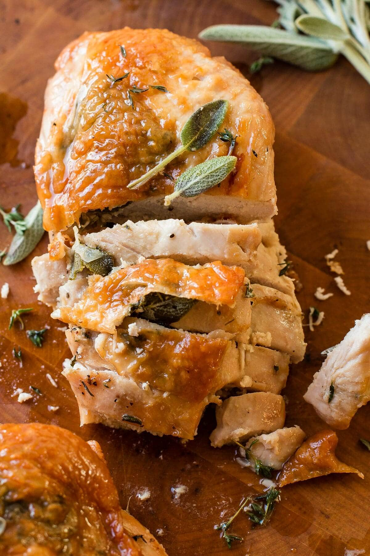 Quick and easy herb roasted turkey breast for Thanksgiving and holidays ohsweetbasil.com