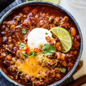 Want the best chili recipe for 2018? I got you covered with this instant pot award winning chili recipe and yes, there's bacon involved! ohsweetbasil.com