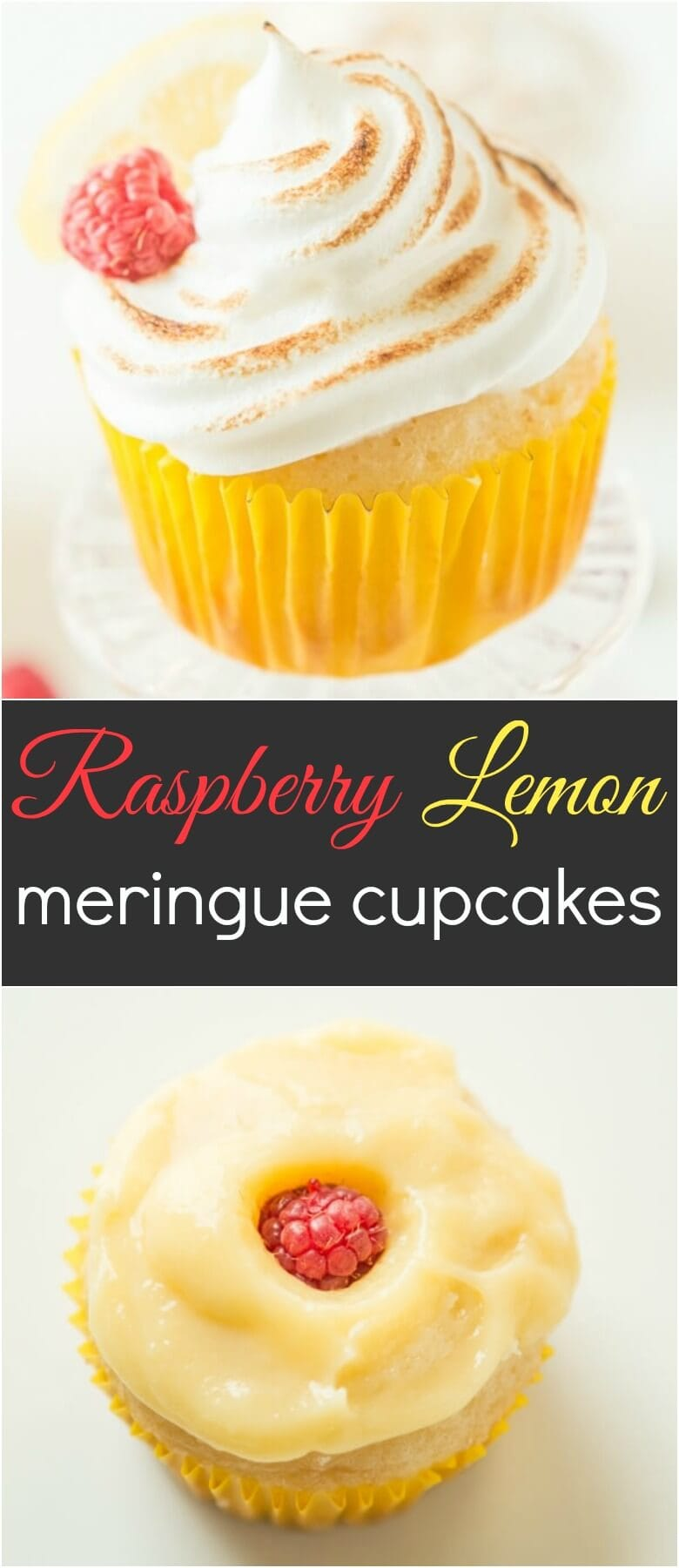 We took our favorite white cupcake and added a touch of lemon, gobs of lemon curd and a bright raspberry for these raspberry lemon meringue cupcakes!