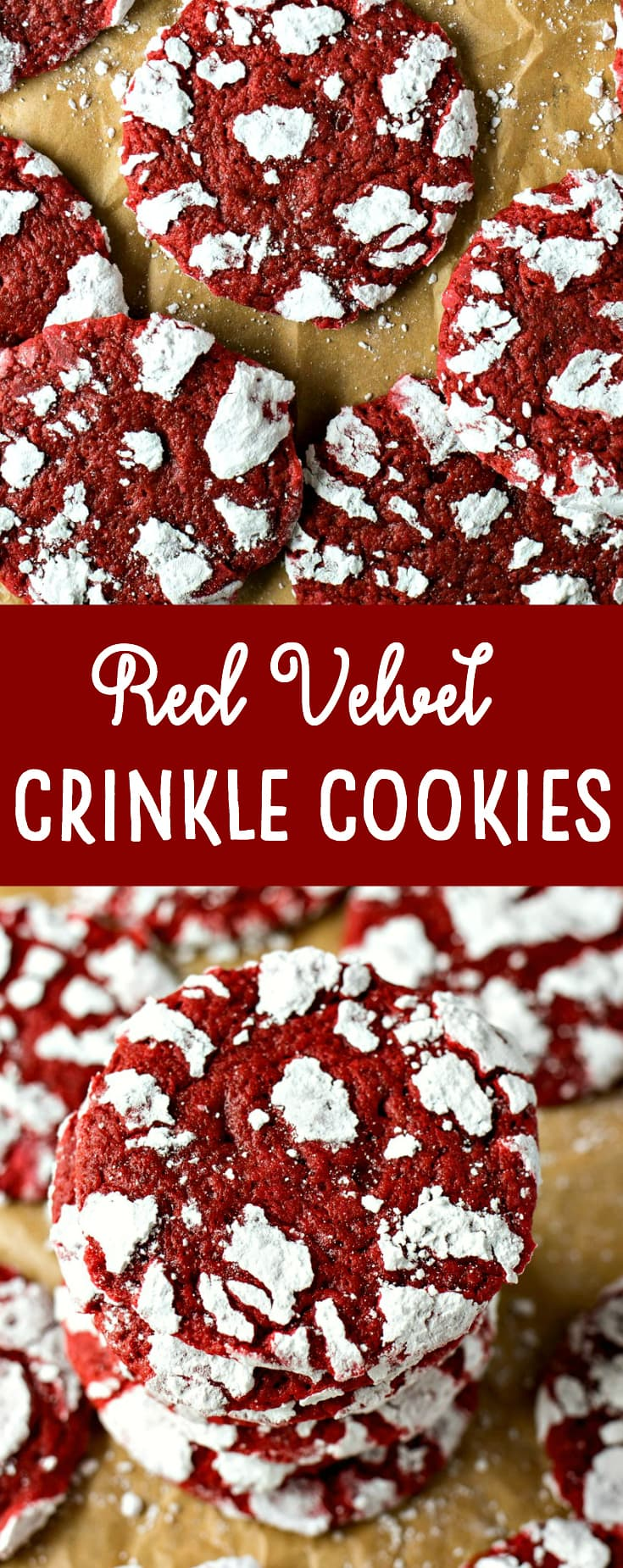 Red velvet cookie dough is rolled in powdered sugar before they're baked into chewy cookies, forming white crinkles on top.