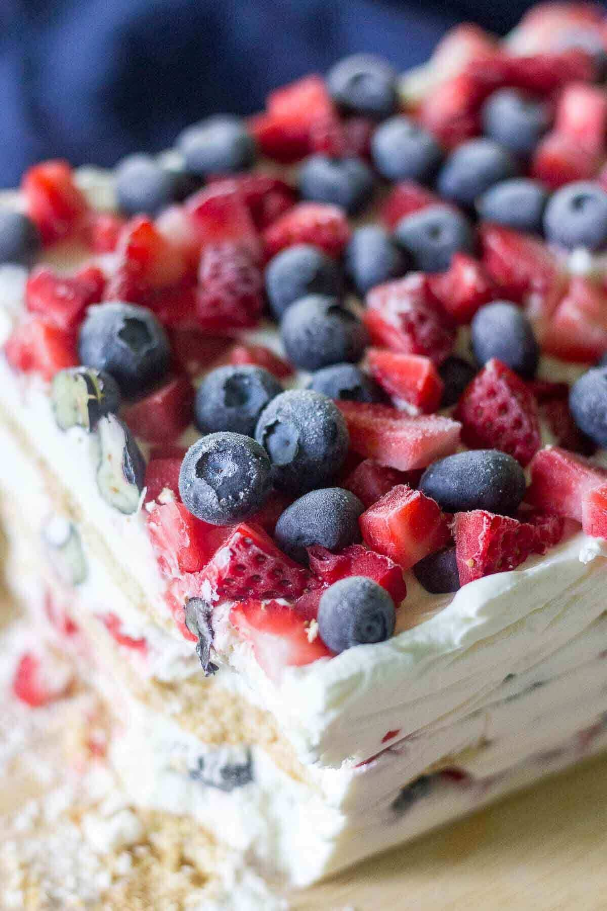 Red white and blue icebox cake oh sweet basil for Easy no bake dessert recipes with few ingredients