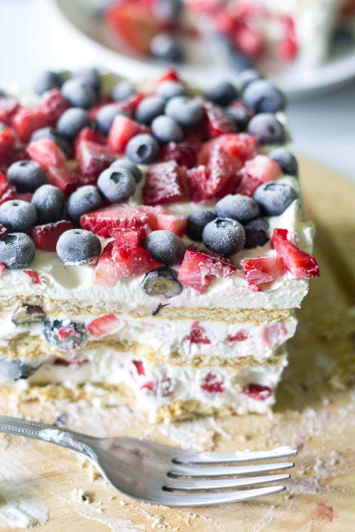Red White and Blue Icebox Dessert | Oh Sweet Basil