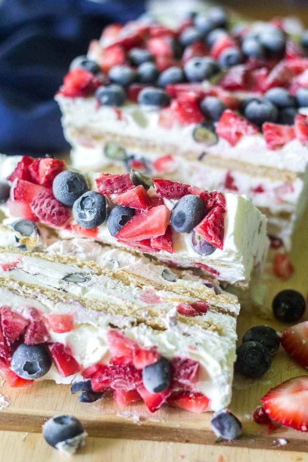 Looking for the ultimate 4th of July dessert? This Red White and Blue Icebox Cake is a simple and festive recipe for a crowd! No baking required and only a few ingredients to layer and put this icebox cake together!