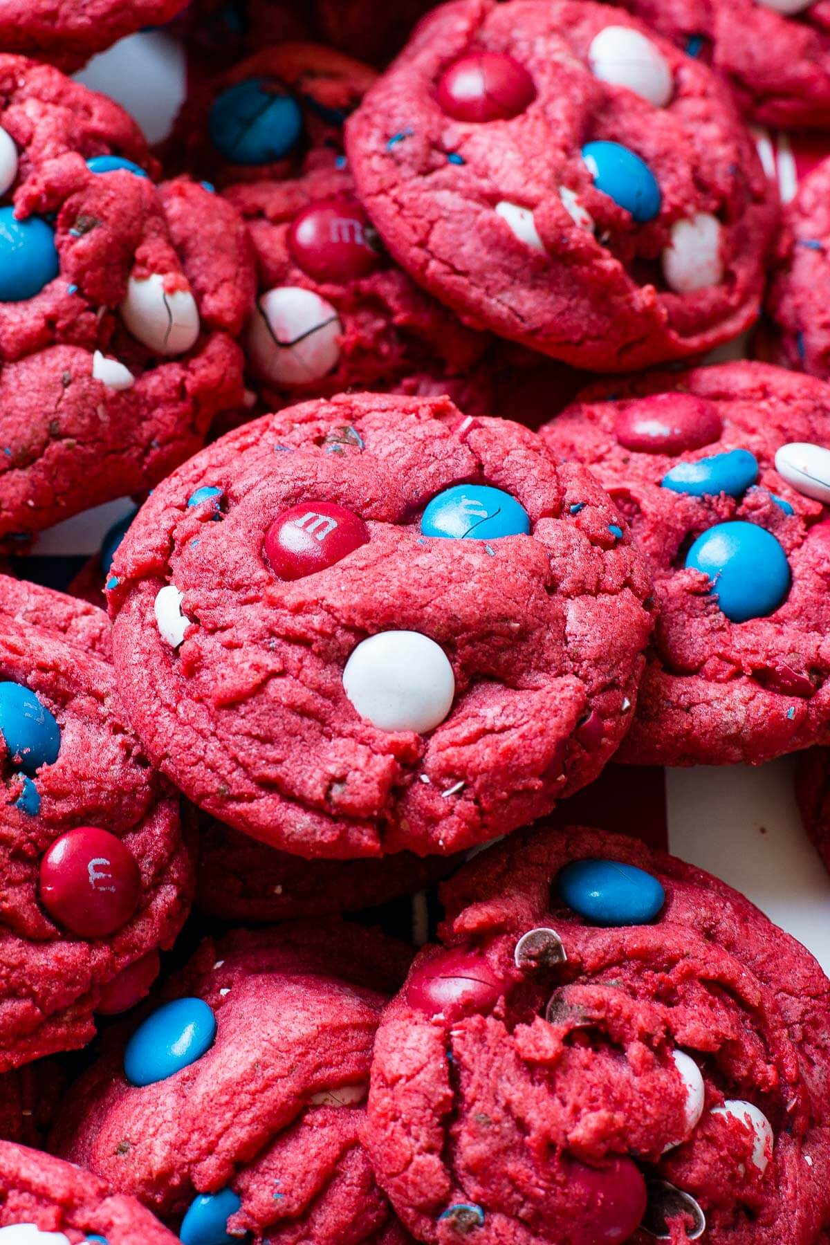 Red White and Blue Red Velvet Cookies Recipe | Oh Sweet Basil