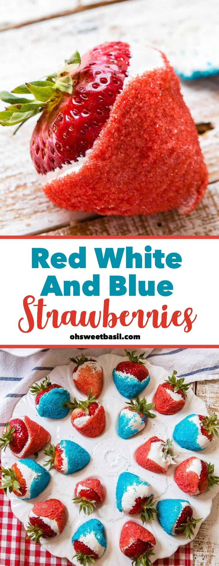 Red white and blue strawberries dipped in white chocolate and red and blue sprinkles