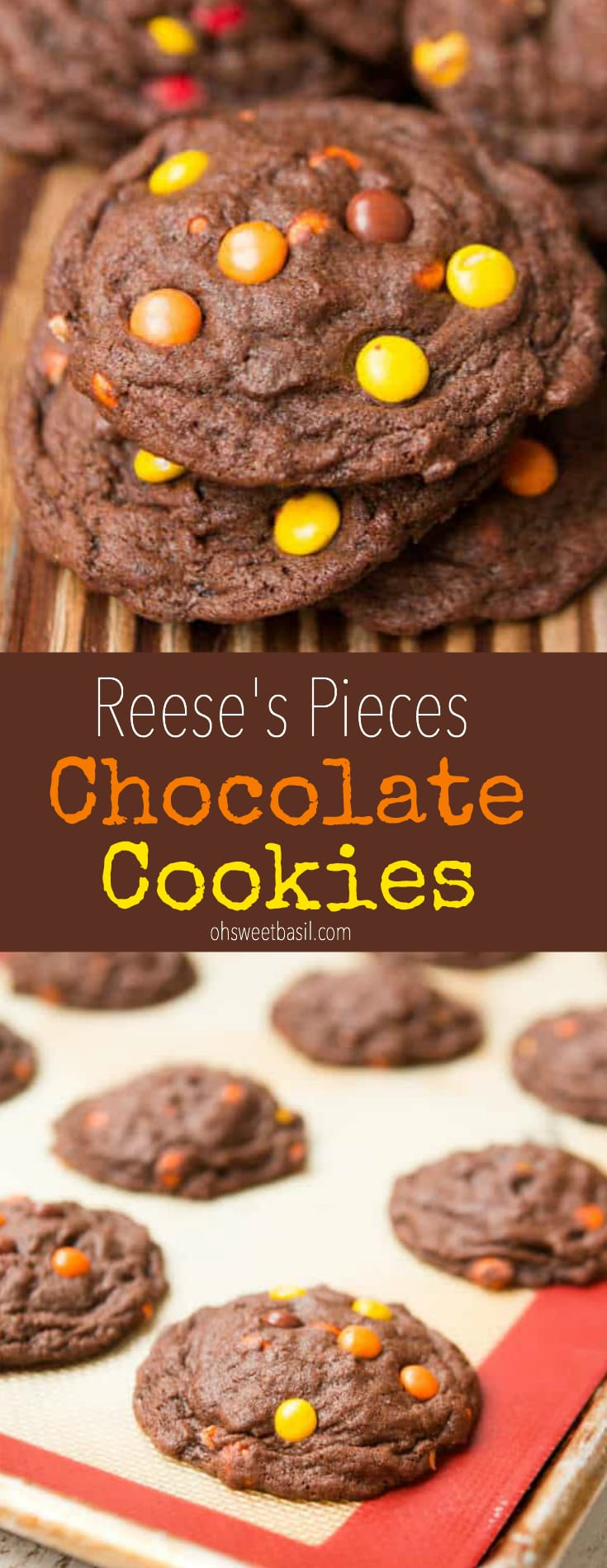 A stack of the best Chocolate Reese's Pieces Cookies