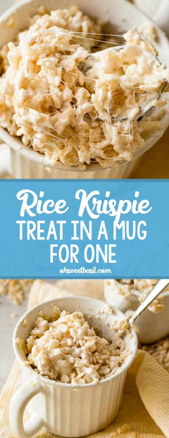 A photo of gooey rice krispie treat in a white mug with someone taking a spoonful out.