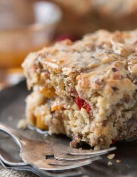 Savory breakfasts tend to always be the same thing, but we've started making this sausage breakfast cake with maple butter sauce and it's delicious! ohsweetbasil.com