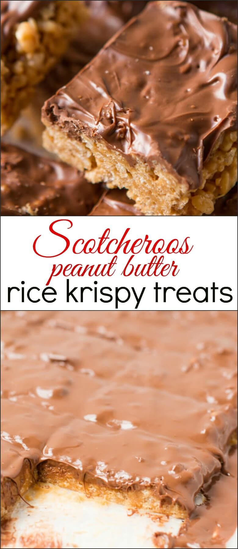 This scotcheroos rice krispy treats recipe is seriously such an addicting treat and it only takes a couple of ingredients to make it! peanut butter, rice krispies, butterscotch chips, chocolate chips