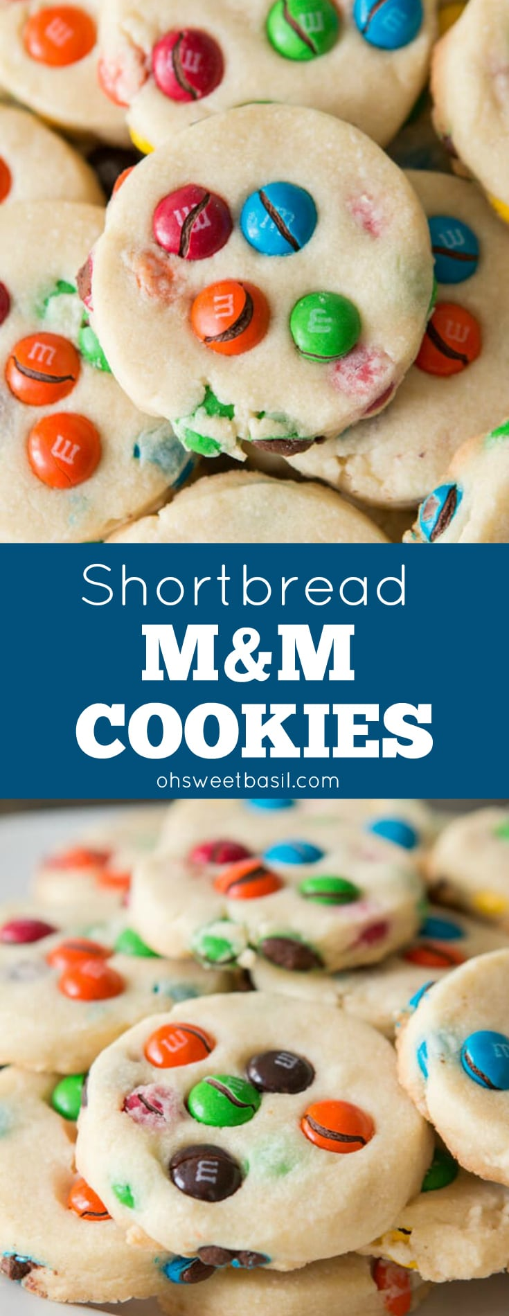 A stack of buttery Shortbread M&M Cookies