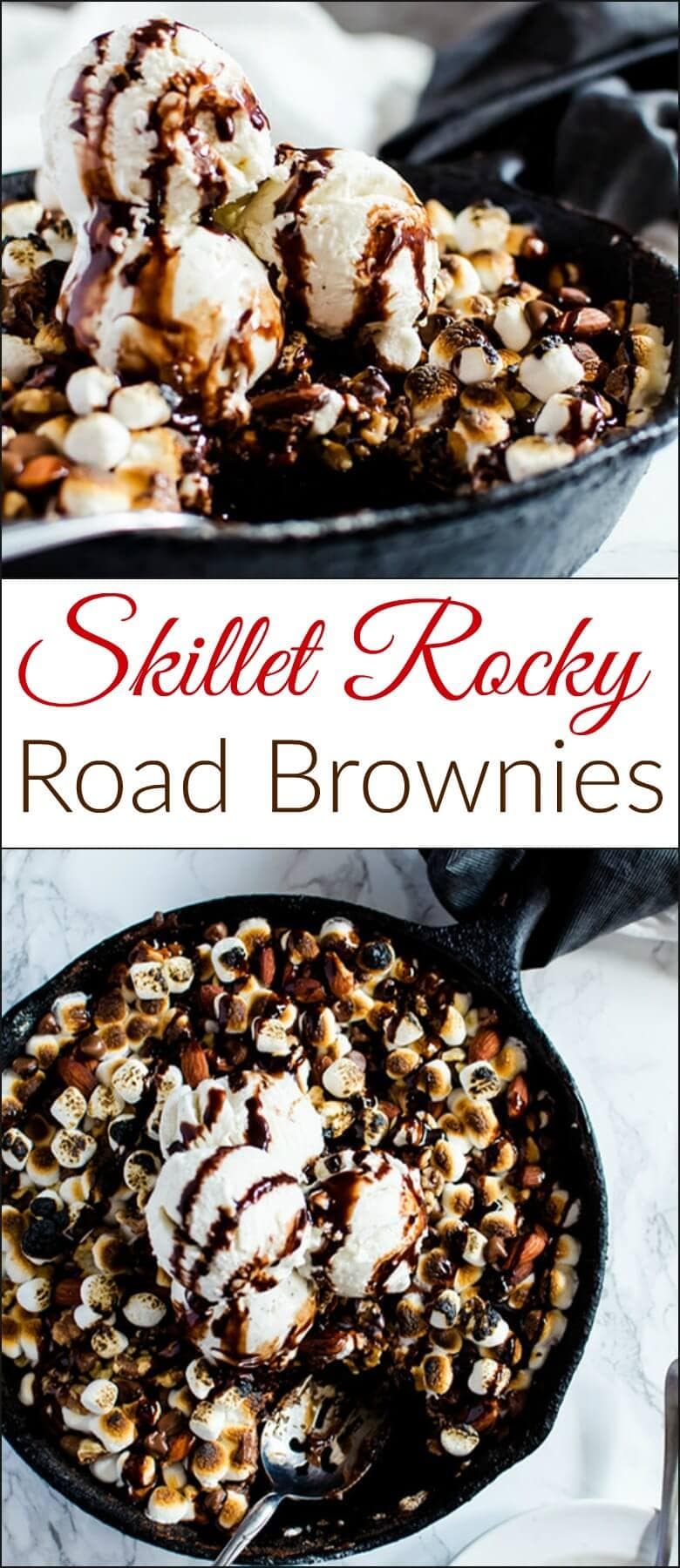 Out of this world decadent skillet rocky road brownies. This brownie is made right in the pan and is done in less than 30 minutes. It's the perfect sweet and salty dessert to share with friends over a pint of ice cream. ohsweetbasil.com