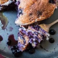 Sometimes you just need a big pile of pancakes and these healthy wild blueberry cottage cheese pancakes will fill your belly but not your waistline.