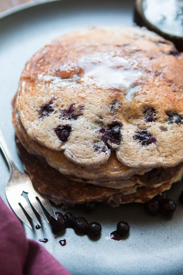 Sometimes you just need a big pile of pancakes and these healthy wild blueberry cottage cheese pancakes will fill your belly but not your waistline. ohsweetbasil.com