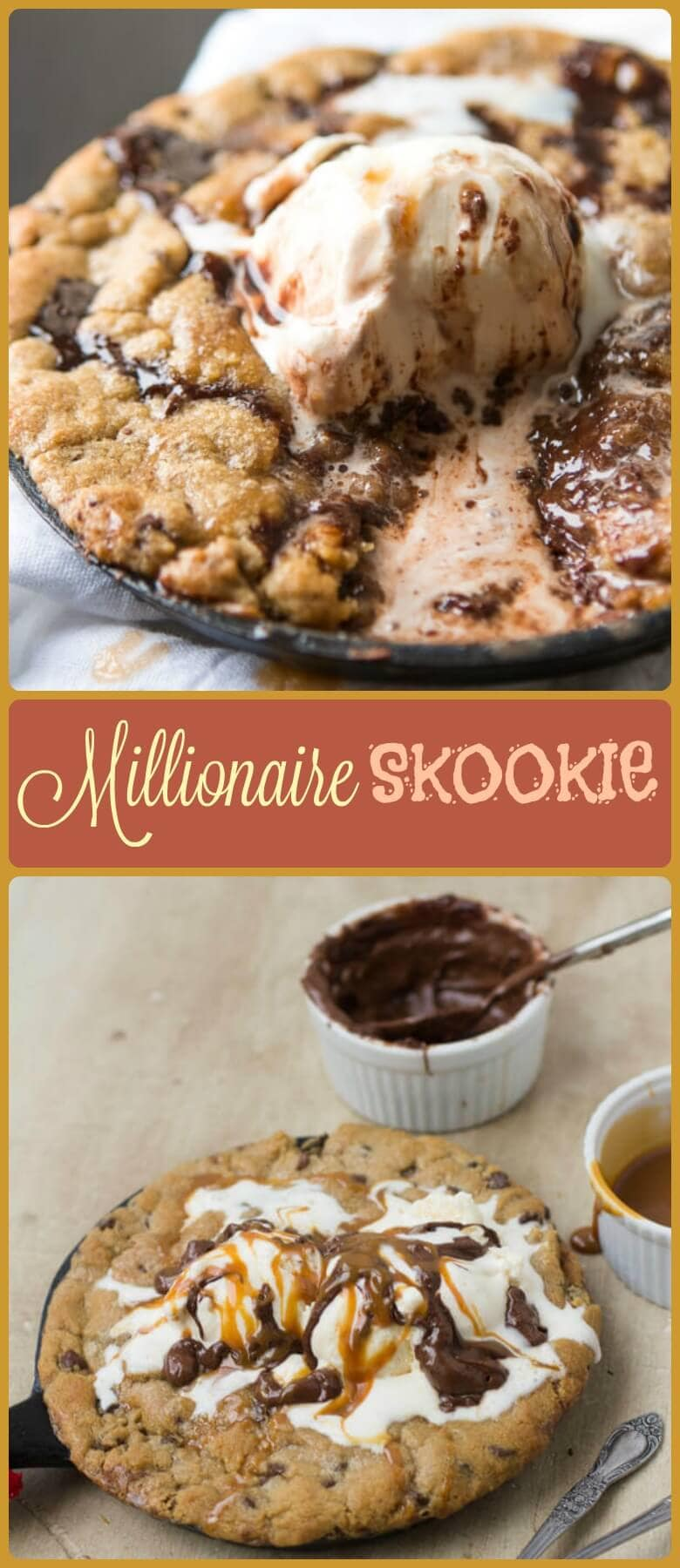 This millionaire skookie has a secret layer of nutella and dulce de leche under the cookie that would be worth millions if cookies were money.