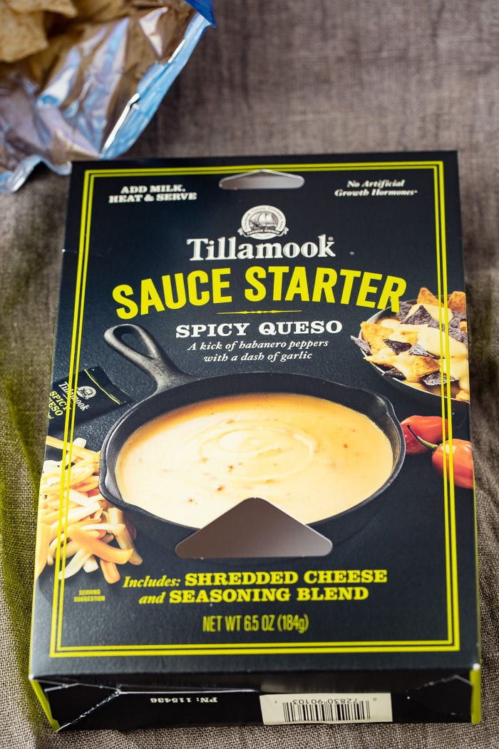 A photo of a package of Tillamook Spicy Queso Sauce Starter.