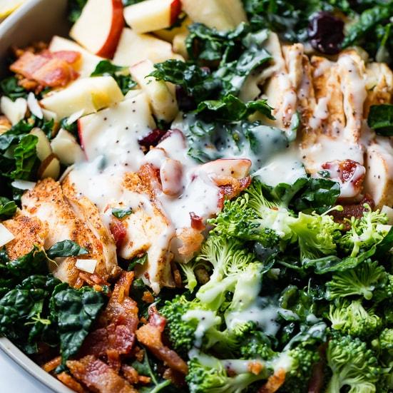 Smoked Chicken Power Greens Kale Salad