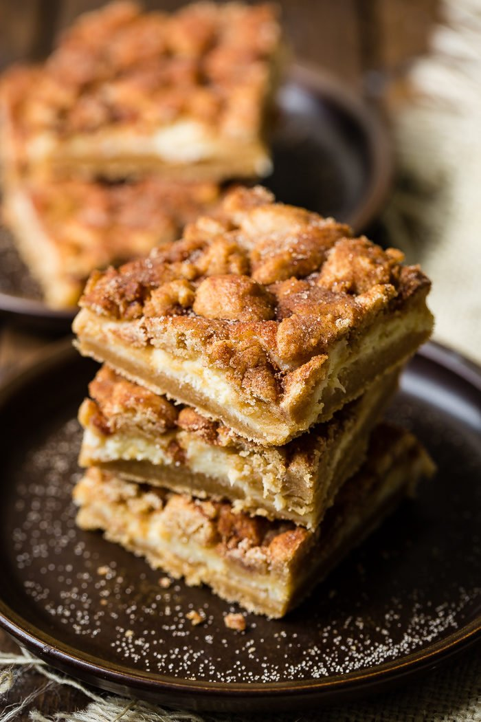 stack of three snickerdoodle bars on dark plate