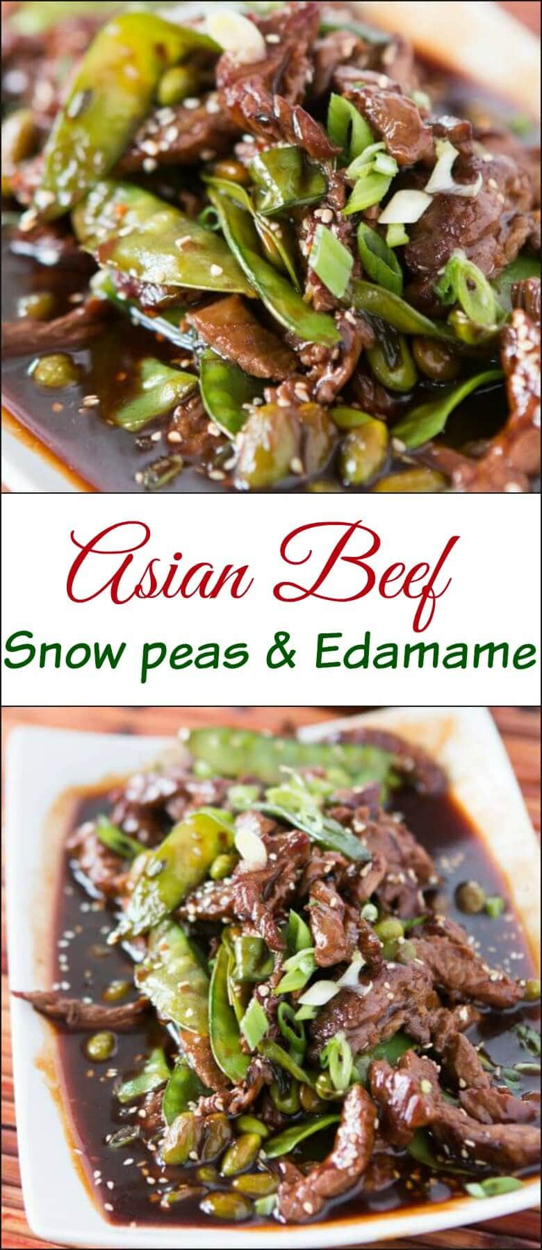 I love meals that are as easy as if you didn't cook at all! This Asian beef with snow peas and edamame is delicious and super quick! ohsweetbasil.com