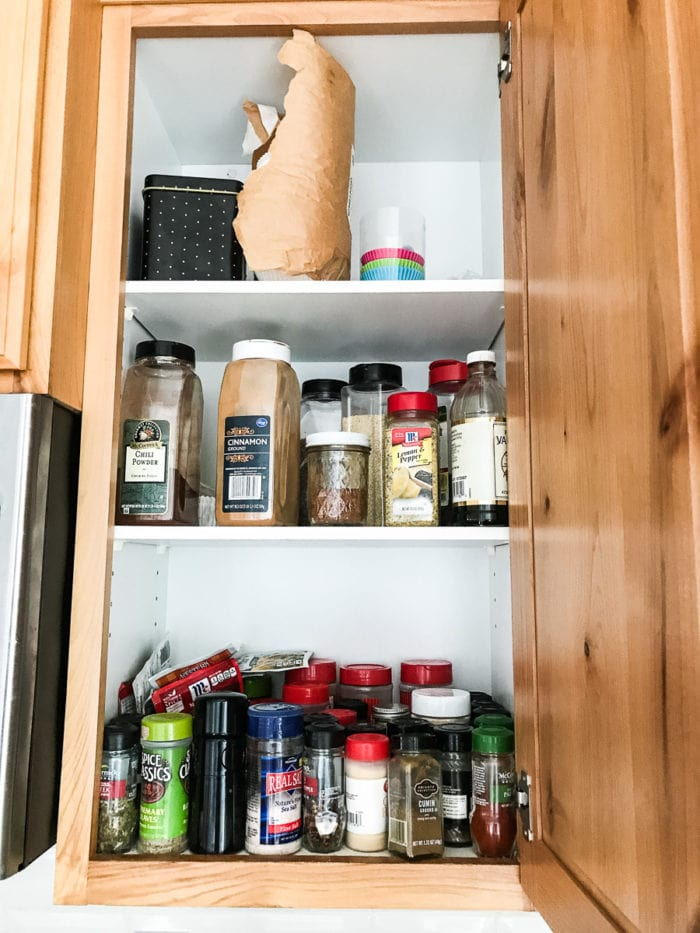 Spice shelf organizer that actually makes sense because you can see the spices in your spice cabinet- spicy shelf!