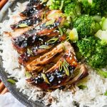 Sticky Asian sauce made with soy sauce and sweet chili sauce served over chicken and rice ohsweetbasil.com
