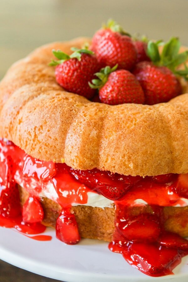 You can make a regular cake, cupcakes, bundt cake or even a layered cake and turn it into strawberries and cream shortcake! ohsweetbasil.com