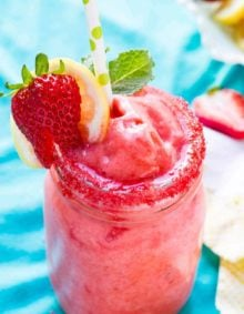 The absolute BEST Frozen Strawberry Lemonade I have ever had and there's a secret to making it! ohsweetbasil.com