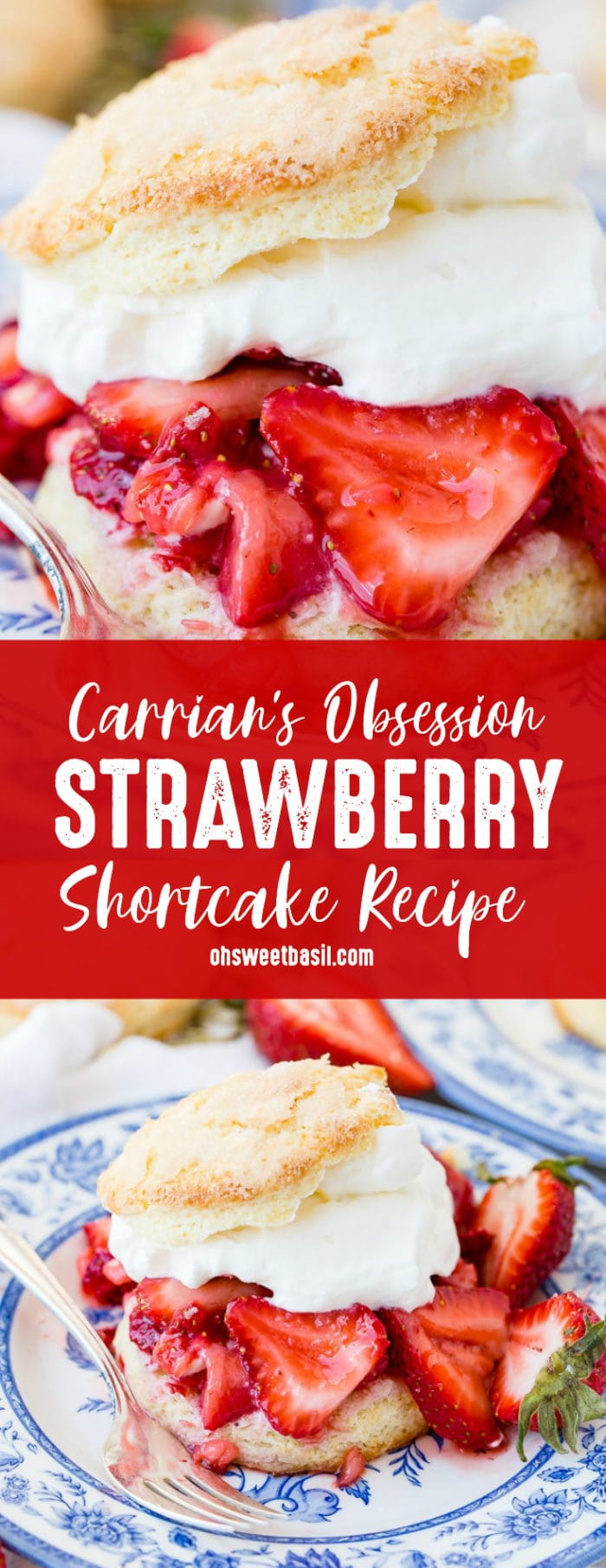A homemade strawberry shortcake recipe on a blue and white plate with a sweet biscuit, juicy strawberries, and whipped cream.