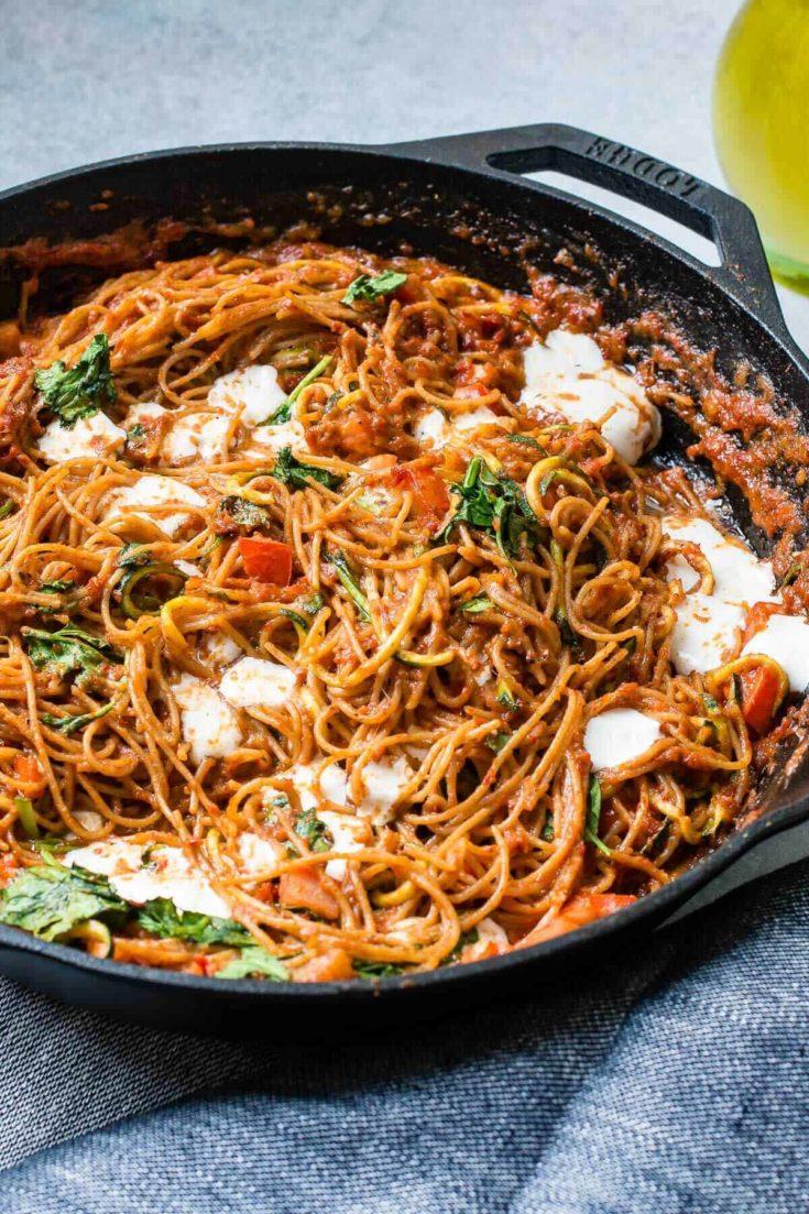 Sun Dried Tomato Pesto Pasta with Zoodles
